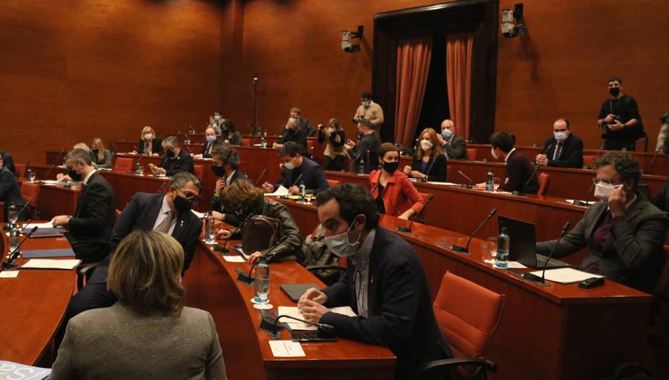 Pla general de la taula de partits al Parlament sobre les eleccions del 14-F.