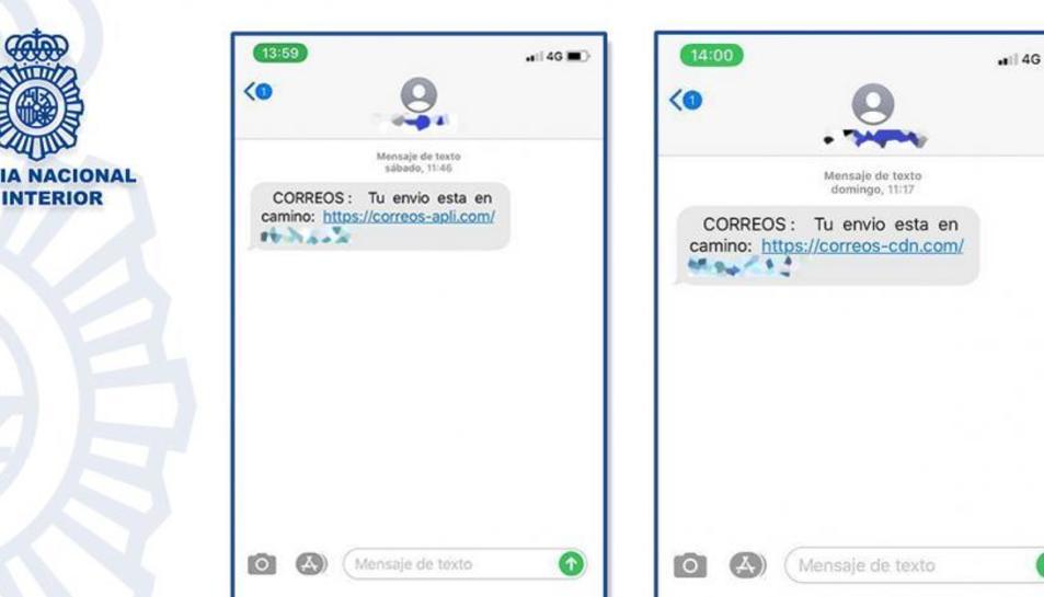 Mostra fotogràfica dels sms maliciosos, facilitada per la Policia Nacional