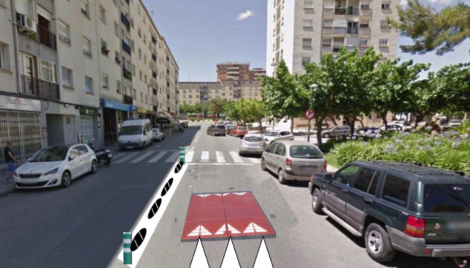 Imatge editada per mostrar com quedarà el carrer Bloc Sant Tomàs, en aquest cas, amb els coixins.