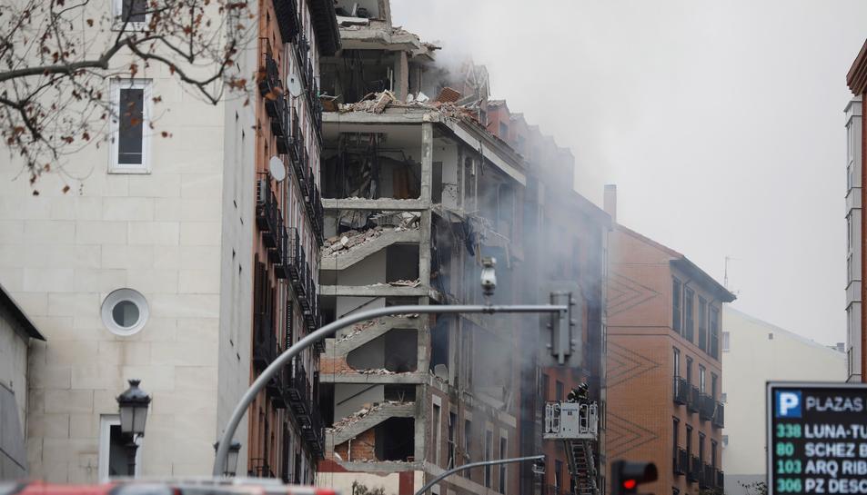 Imatge de l'edifici on s'ha produït l'explosió, a MAdrid.