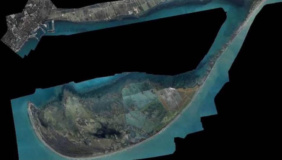 Imatge aèria del visor que ha habilitat l'ICGC sobre els danys de la borrasca Filomena al Delta de l'Ebre.