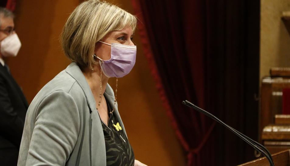 La consellera de Salut, Alba Vergés, intervé a la reunió de la Diputació Permanent del Parlament.