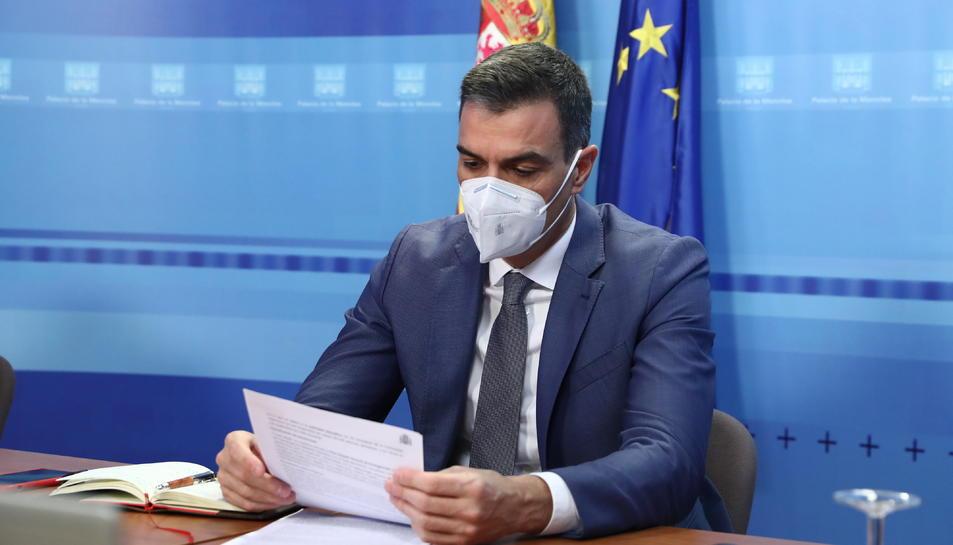 El president del govern espanyol, Pedro Sánchez, a la reunió telemàtica del Comitè Estatal de Coordinació i Direcció del sistema nacional de Protecció Civil