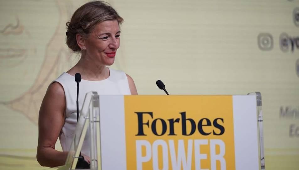 La ministra de Treball, Yolanda Díaz, a la Forbes Power Summit Women, que s'ha celebrat aquest 21 de gener del 2121 a Madrid.