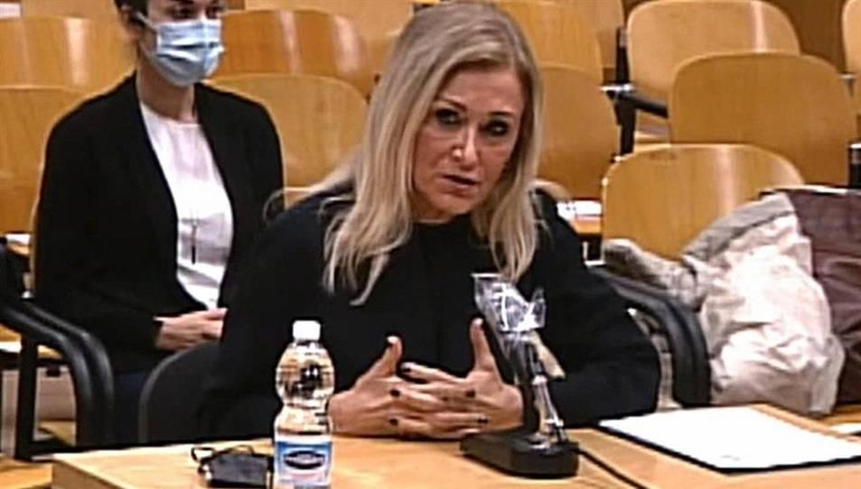 L'expresidenta de la Comunitat de Madrid, Cristina Cifuentes, declara en el judici.