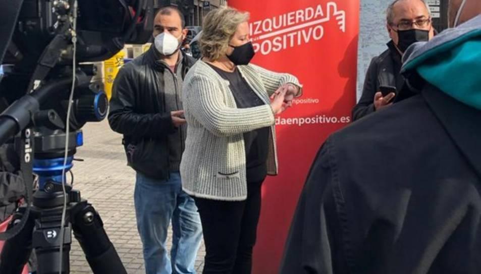 Celia Cánovas abans de la compareixença davant dels mitjans.