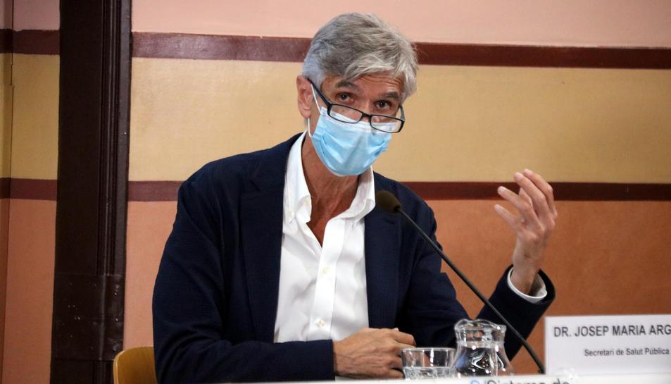 El secretari de Salut Pública, Josep Maria Argimon, en una roda de premsa per analitzar la situació epidemiològica de Catalunya.
