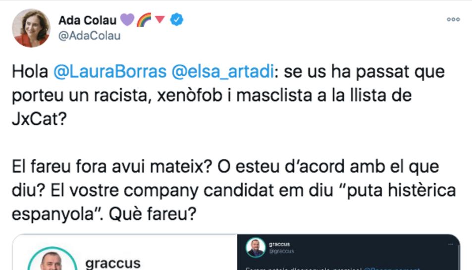 Captura de pantalla de la piulada de Colau on denuncia els fets.