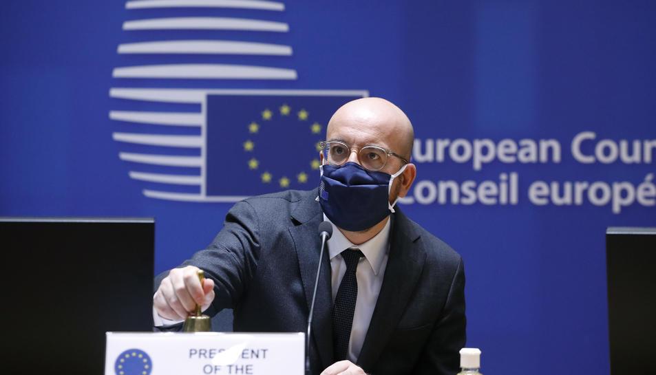 El president del Consell, Charles Michel, durant una intervenció a la cimera amb els líders a Brussel·les.