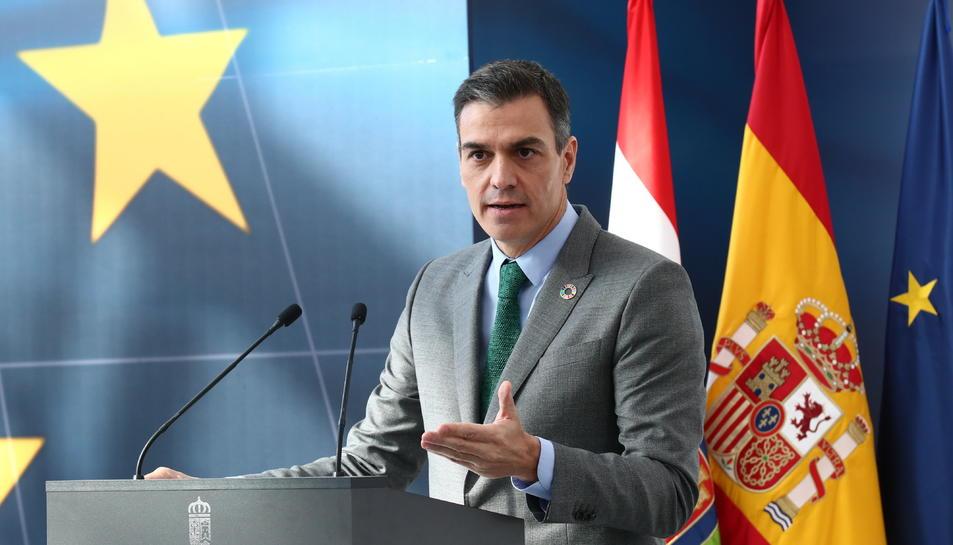 Pla mitjà del president del govern espanyol, Pedro Sánchez, en una imatge d'arxiu.