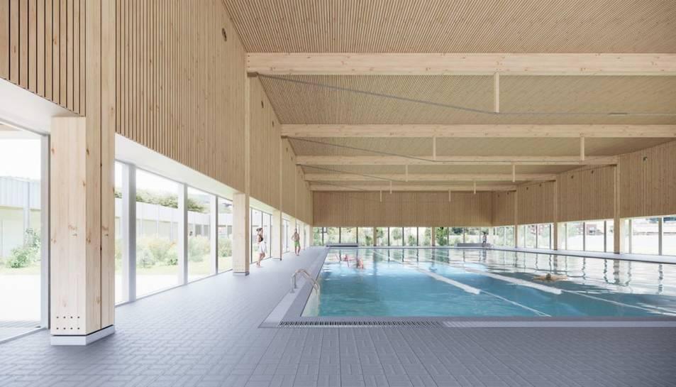 Imatge virtual del projecte que ha presentant NAM Arquitectura per cobrir la piscina.