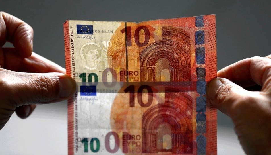 Imatge d'un bitllet de 10 euros.