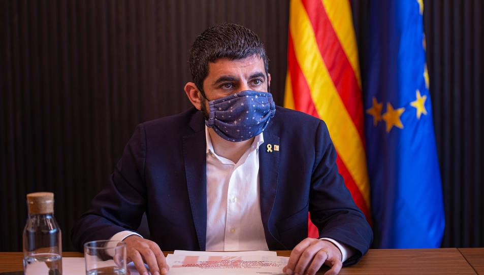El conseller de Treball, Afers Socials i Famílies, Chakir El Homrani durant la reunió del Consell de Diàleg Social,