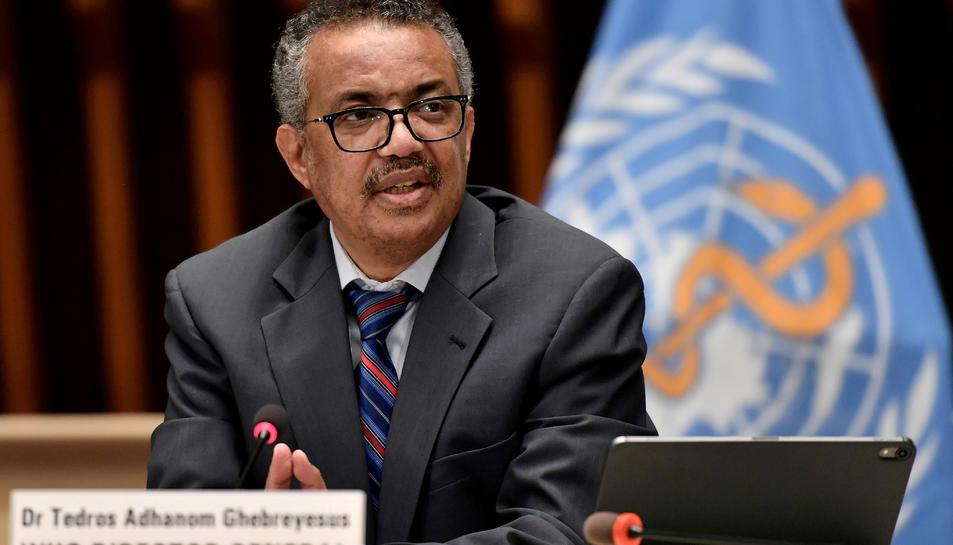 El director general de l'Organització Mundial de la Salut (OMS), Tedros Adhanom Ghebreyesus, en una roda de premsa a Ginebra.