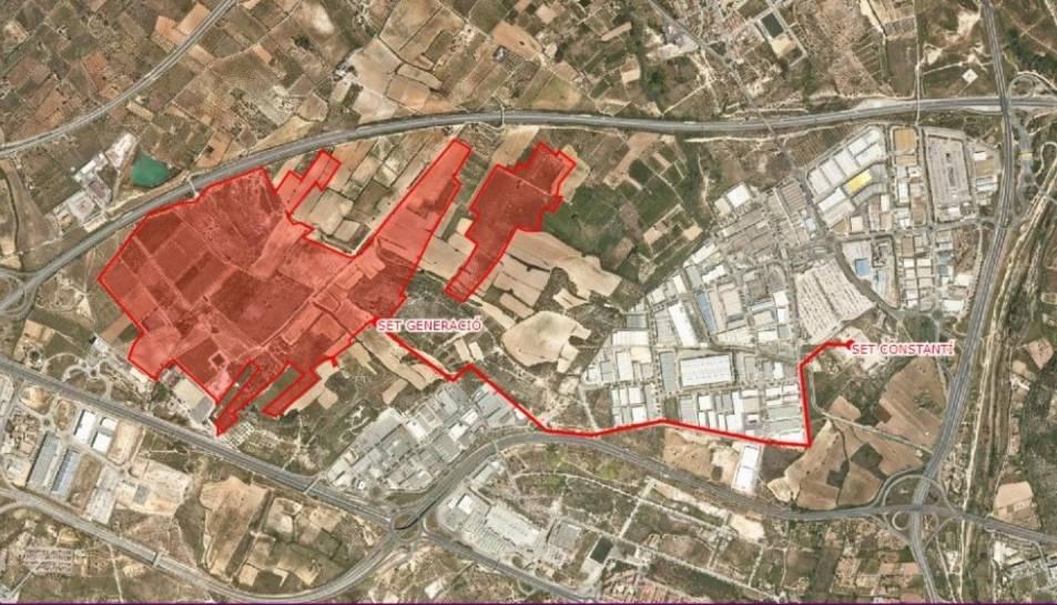 Plànol de la zona que ocuparia el nou parc solar Bellisens, al municipi de Constantí.