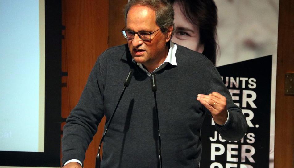L'expresident Quim Torra a l'acte de campanya de JxCat a Granollers.