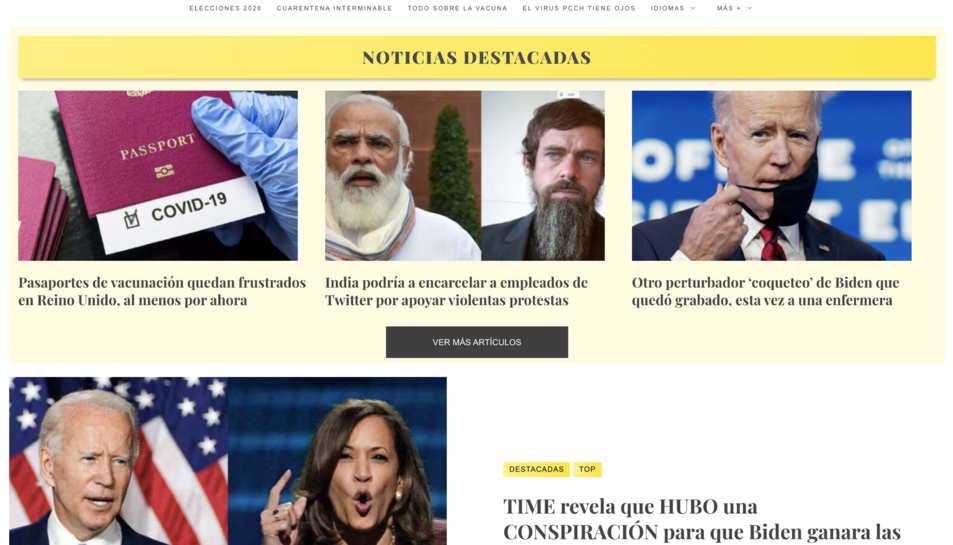 Imatge de la portada de tierra pura, un dels digitals dedicats a la desinformació.