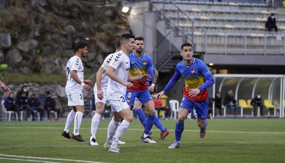 Javi Bonilla, durant el partit a Andorra.