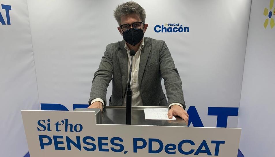 Marc Arza ahir a la seu del PDeCAT a la ciutat de Reus.
