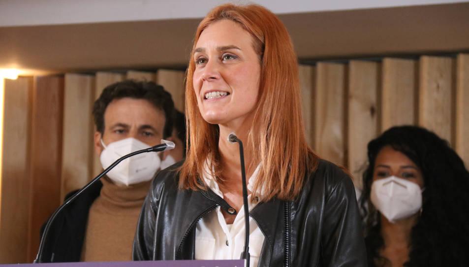 Pla mitjà de la candidata dels comuns, Jéssica Albiach, en la valoració dels resultats de les eleccions.