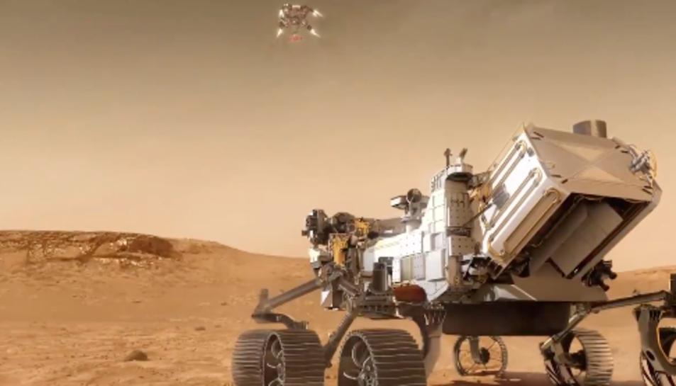 Imatge virtual del rover ja a la superfície de MArt.