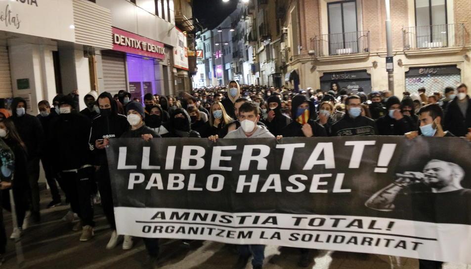 La manifestació d'aquest dissabte a Lleida per demanar la llibertat de Pablo Hasel.