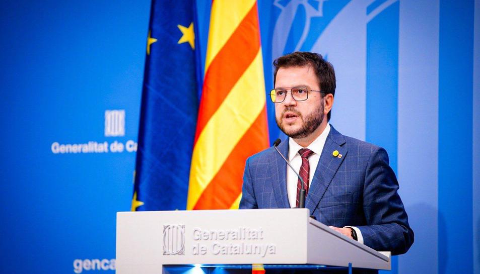El vicepresident del Govern amb funcions de president, Pere Aragonès, en roda de premsa.