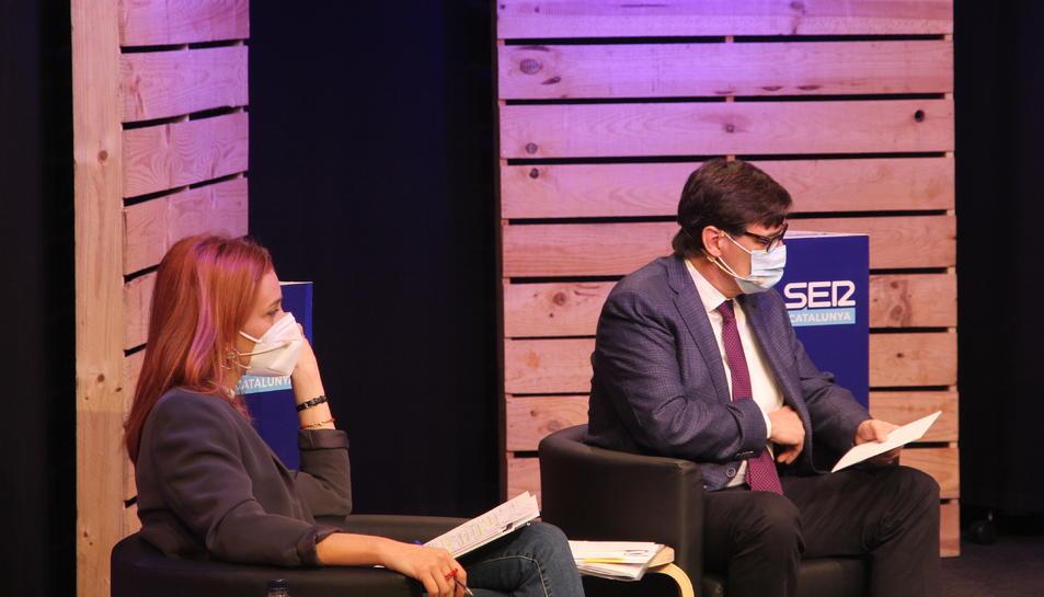 Els líders dd'ECP i dels PSc, Jéssica Albiach i Salvador Illa.