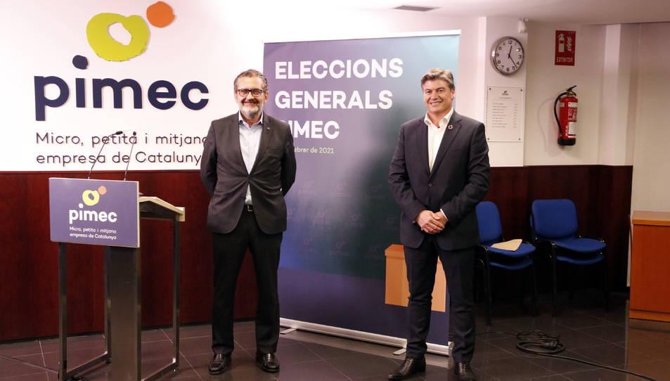 Antoni Cañete i Pere Barrios, després de conèixer els resultats de les eleccions a la patronal.