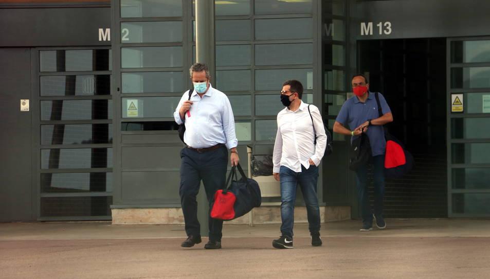 Moment de la sortida de Lledoners de Joaquim Forn, Jordi Sànchez i Josep Rull, en una imatge d'arxiu.