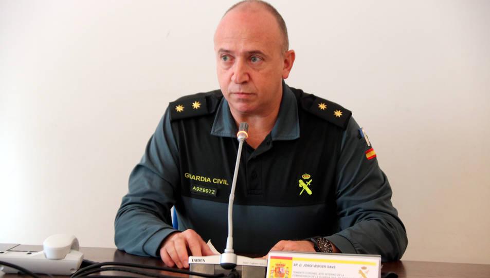 El tinent coronel Jordi Verger, cap de la comandància de la Guàrdia Civil de Tarragona, en roda de premsa.