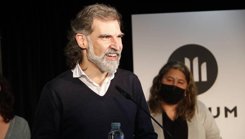 El president d'Òmnium, Jordi Cuixart, en roda de premsa.