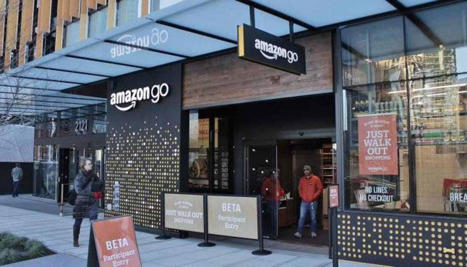 Entrada d'un supermercat Amazon Go a Seattle.