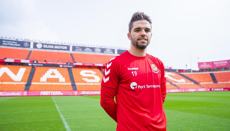 El davanter del Nàstic Fran Carbia al Nou Estadi, indret on vol continuar lluitant, aportant i marcant gols que serveixin per ajudar a l'equip.