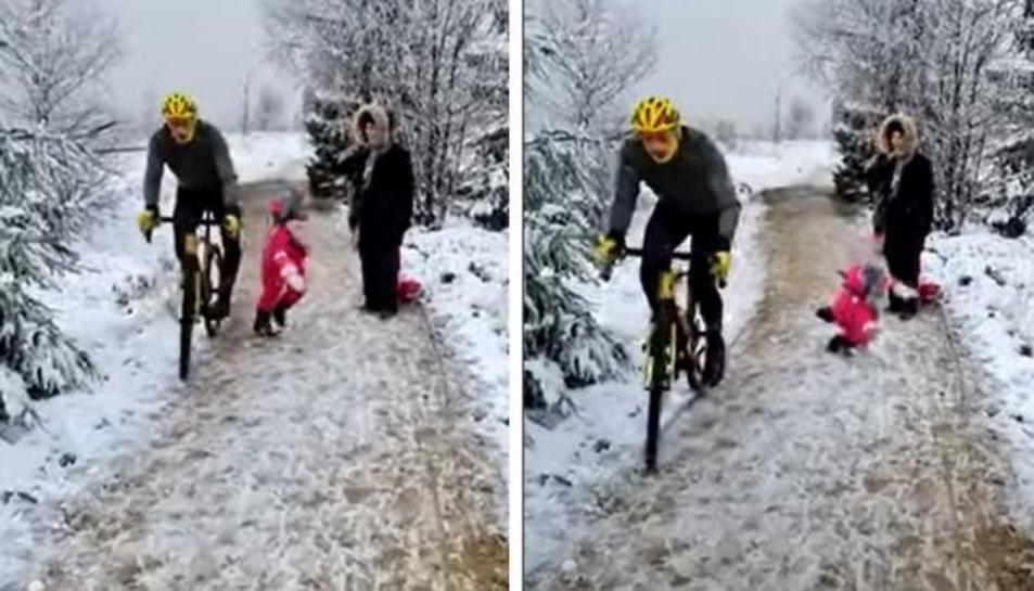 Seqüència del vídeo on el ciclista tomba a la nena.