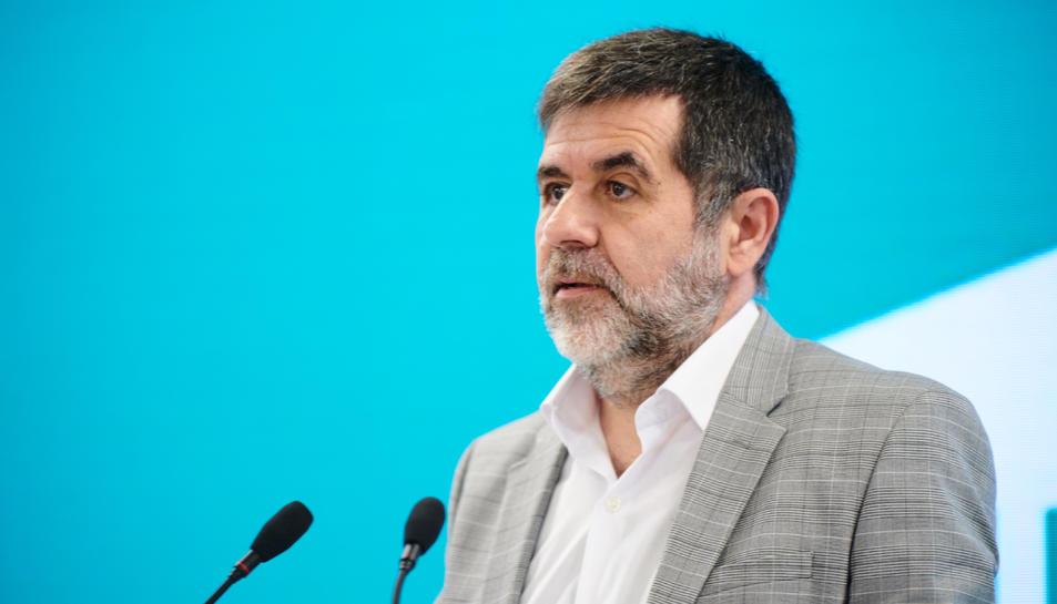 El secretari general de JxCat, Jordi Sànchez, en roda de premsa a la seu del partit.