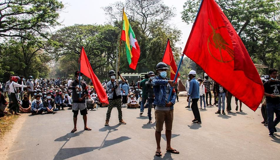 Protestas en la localidad de Myitkyina en Birmania