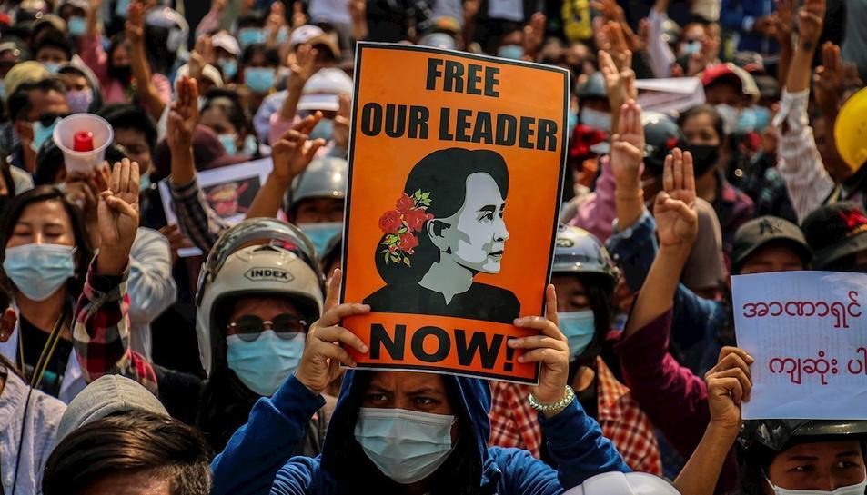 Protestes a la localitat de Myitkyina a Birmània
