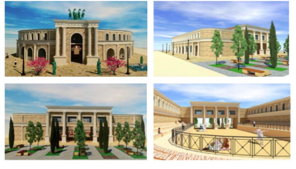 Recreacions virtuals de l'edifici de quasi 3.000 metres quadrats amb una planta oblonga, semblant a la d'un circ romà.