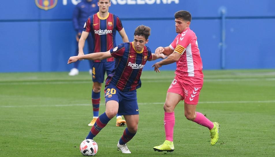 Un moment del Barcelona B-Llagostera de la setmana passada, que va acabar amb derrota dels gironinis (4-2).