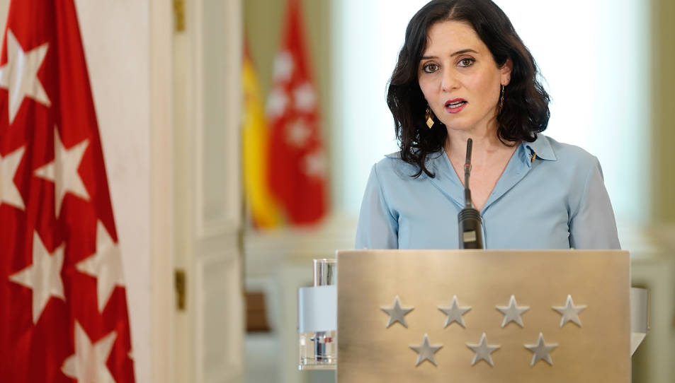 La presidenta de la Comunitat de Madrid, Isabel Díaz Ayuso, aquest dimecres a la Casa de Correos de Madrid.