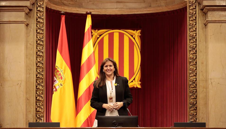 La presidenta del Parlament, Laura Borràs, a l'hemicicle de la cambra, després de la seva proclamació.