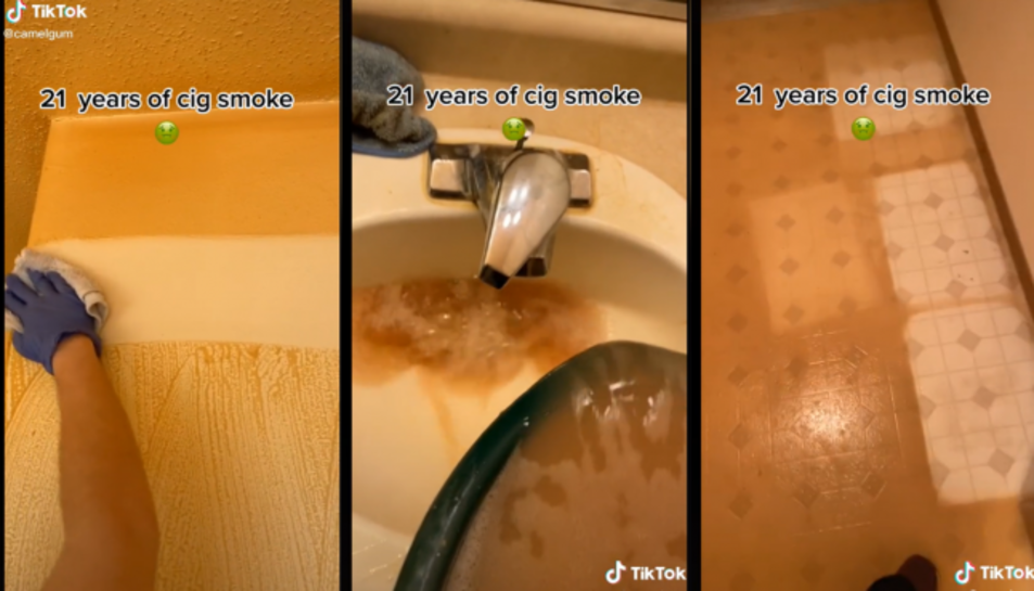 Captura del vídeo viral que mostra els efectes del fum a la casa.