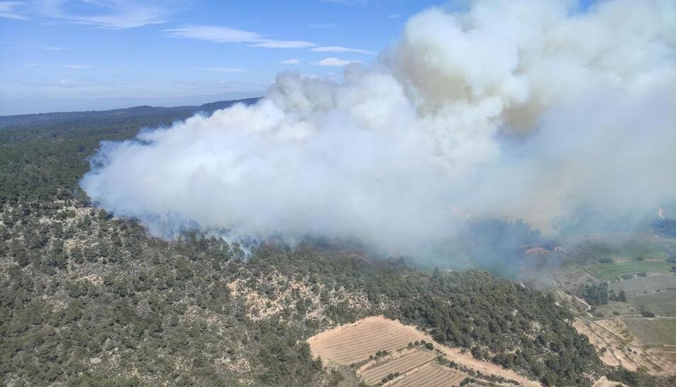 Els Bombers actuen en un incendi a la serra de Senan a la Conca de Barberà