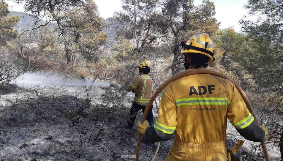 ADF de l'Espluga de Francolí treballant en l'incendi.