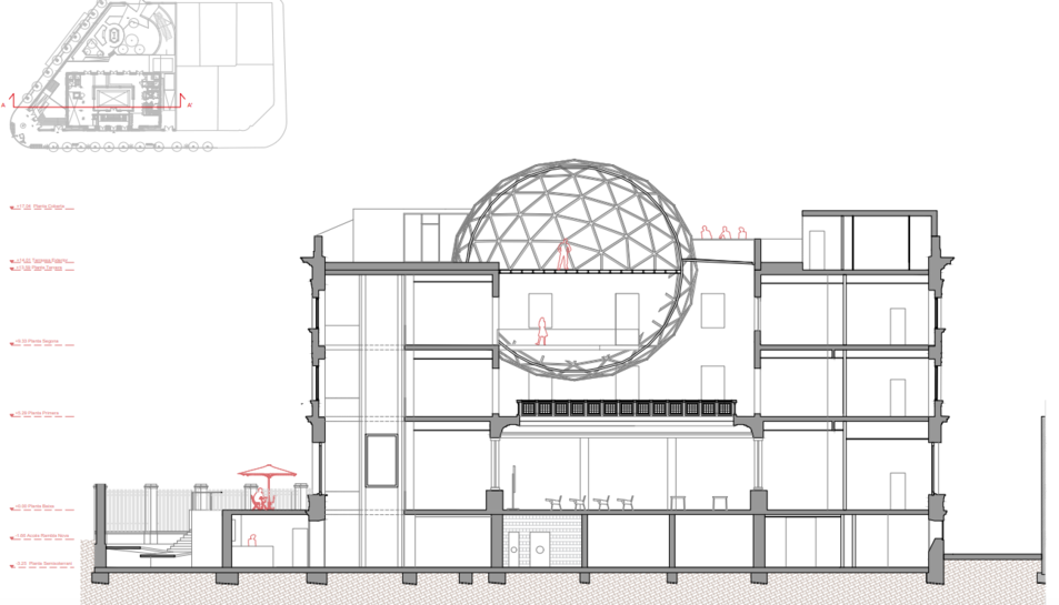 Plànol de com hauria de ser la remodelació interior de l'edifici, amb una gran esfera de tres pisos.
