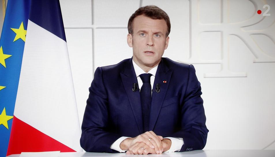 El president de França, Emmanuel Macron, durant un discurs adreçat a la nació.