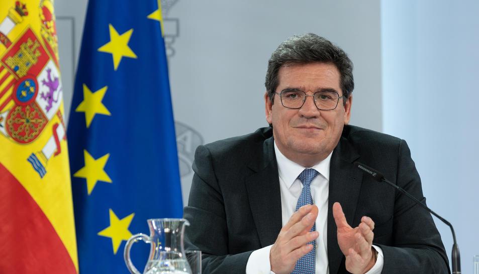 El ministre d'Inclusió, Seguretat Social i Migracions, José Luis Escrivá, en roda de premsa
