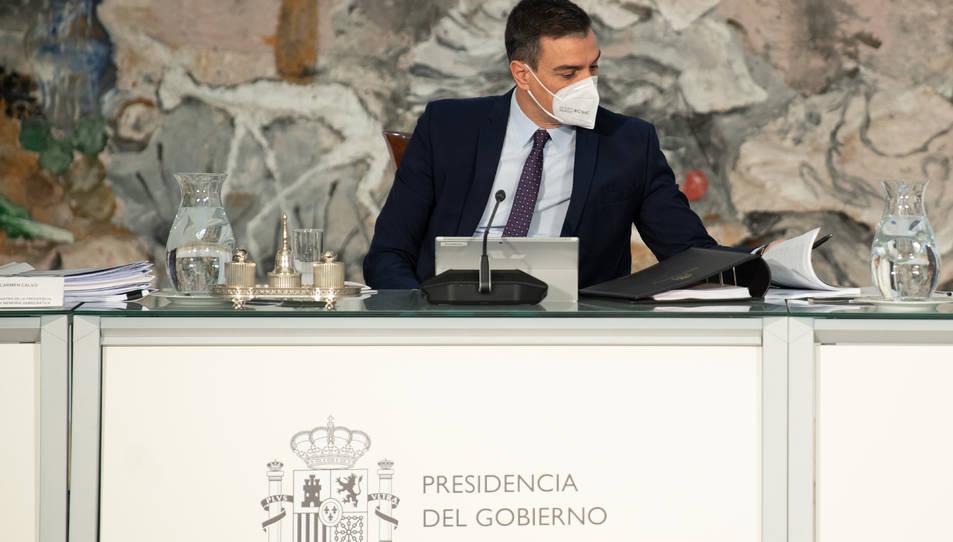 El president del govern espanyol, Pedro Sánchez, en la reunió del Consell de Ministres.