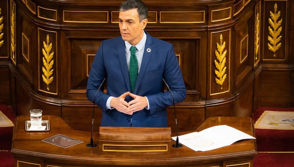 El president espanyol, Pedro Sánchez, al Congrés.